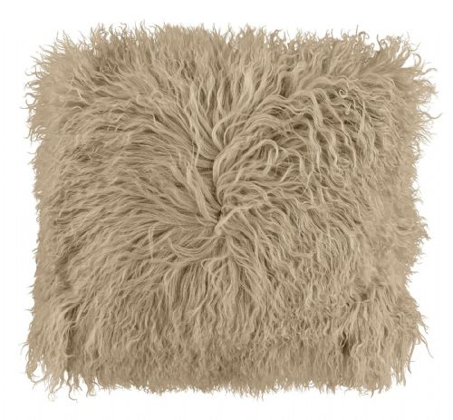 LUXURY FURRY MONGOLIAN SHAGGY FUR SUPER SOFT CUSHION COVER NATURAL COLOUR